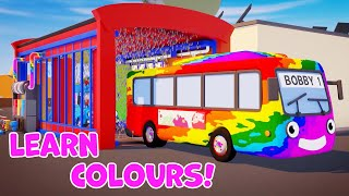 Learn Colours with Rainbow Bus   Paint Truck Wash   Gecko's Garage   Bobby The Bus Videos For Kids