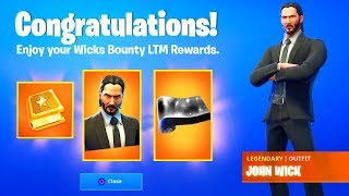Fortnite WICKS BOUNTY CHALLENGES FREE REWARDS and ITEMS (JOHN WICK LTM and SKIN)