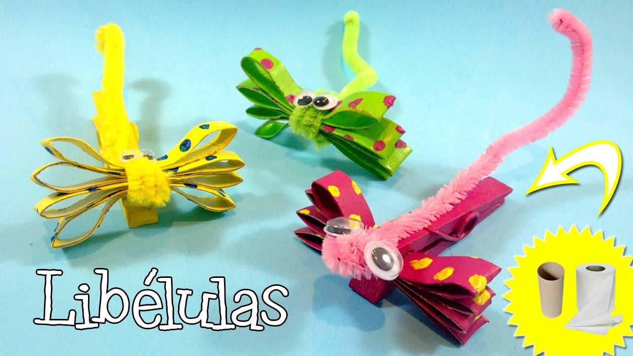 manualidades para niños libélulas con rollos de papel higiénico