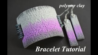 polymer clay tutorial bracelet ikat and salt technique Armband aus Fimo браслет полимерная глина