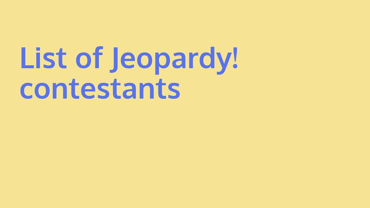 Learn about list of jeopardy! contestants | what is aleve