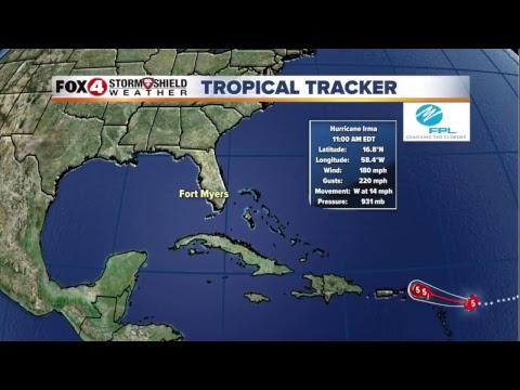 LIVE : Hurricane IRMA Tracking now a Category 5 Storm