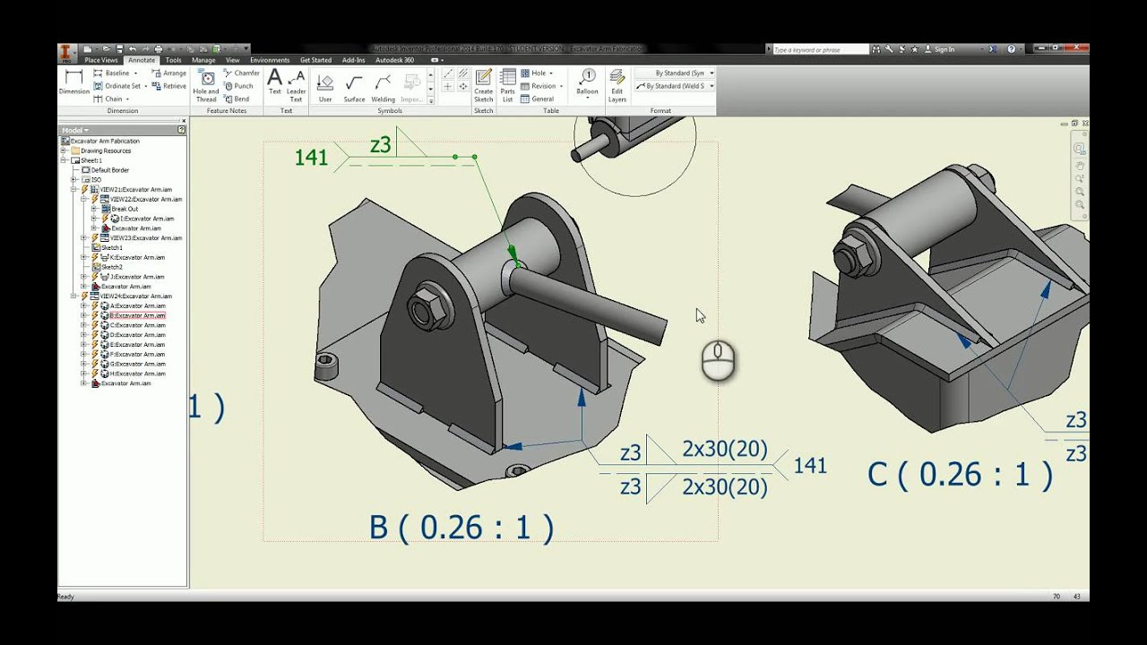 Task 3: Creating the Excavator Arm Fab Assembly Drawing