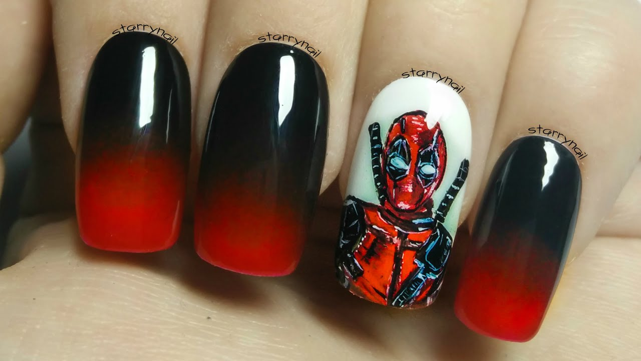 Deadpool ⎮ Freehand Nail Art Tutorial - Deadpool ⎮ Freehand Nail Art Tutorial - YouTube