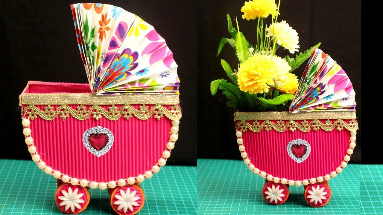 Cardboard Crafts - How to Make Flower Vase from Cardboard - Flower on making sculpture, making baskets, making flower boxes, making flower candles, making flower pillow, making pot, making flower art, making glass, making pottery, making flower bed,