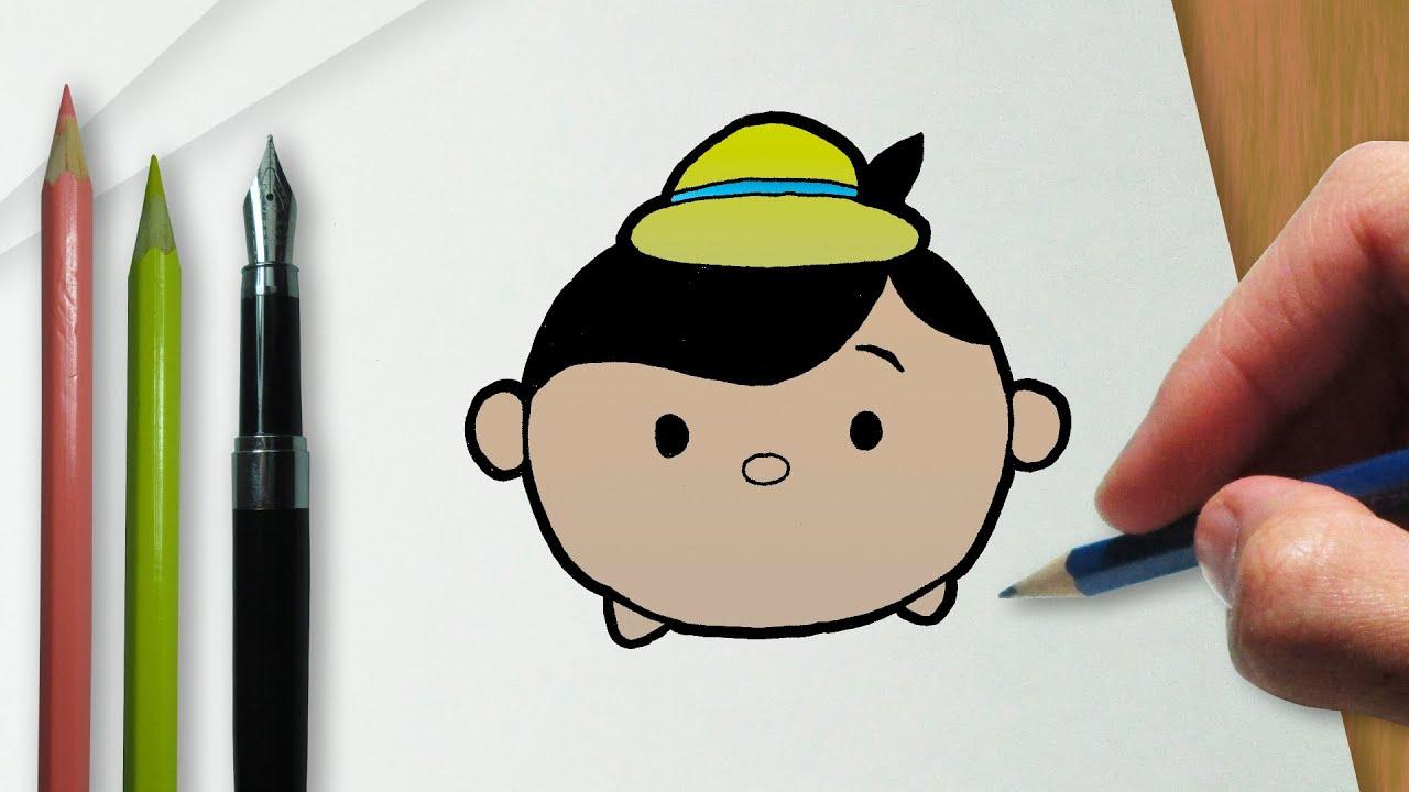 Cómo dibujar Pinocho en la versión Disney Tsum Tsum - YouTube