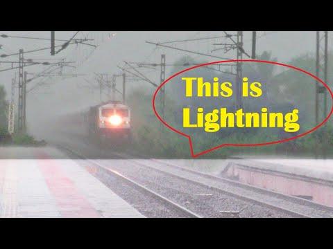 LIGHTNING STRIKE OVER TRAIN ! LHB Train Under Heavy Thunderstorm