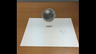 Very Easy!! How to draw 3D Art on paper - Draw a floating levitating ball - draw 3D Trick Art HD