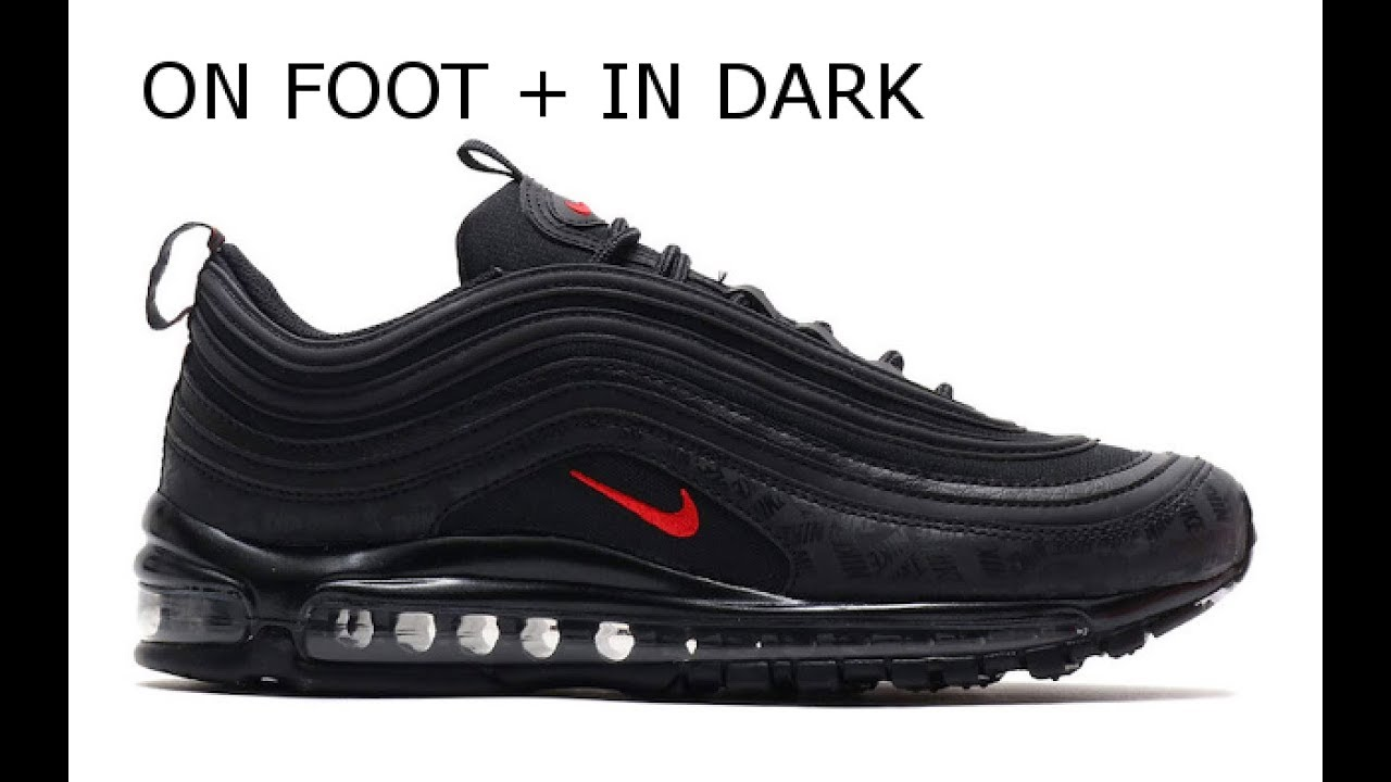 286ac3a4f2 Air Max 97 Black/University Red | on foot, reflective - YouTube