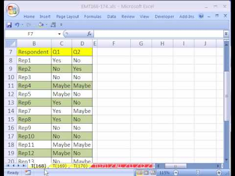 Excel Magic Trick 168 Cross Tabulation For A Survey Youtube