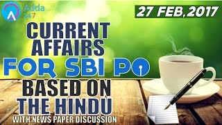 SBI PO 2017 : CURRENT AFFAIRS FOR SBI PO BASED ON THE HINDU