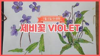 1월8일탄생화 - 제비꽃 #제비꽃그리는법 #꽃말 #vi…