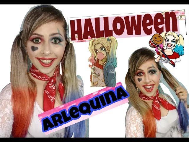 Arlequina, make Halloween ou festa á fantasia!! Rápido e fácil!!!