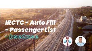 IRCTC - Auto Fill - Passenger List - bse2nse.com
