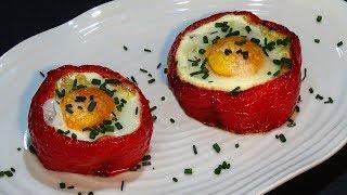 Receta Pimiento relleno de patata, bacon o beicon  y huevo - Recetas de cocina, paso a paso