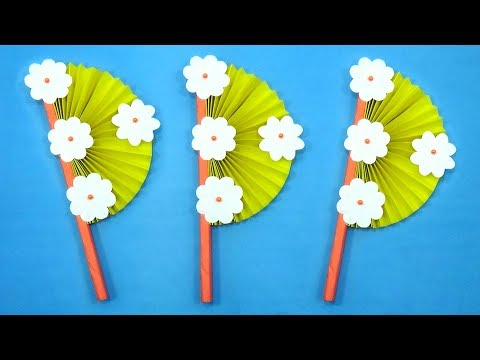 How To Make a Hand fan With Color Paper - DIY Handmade Paper Fan