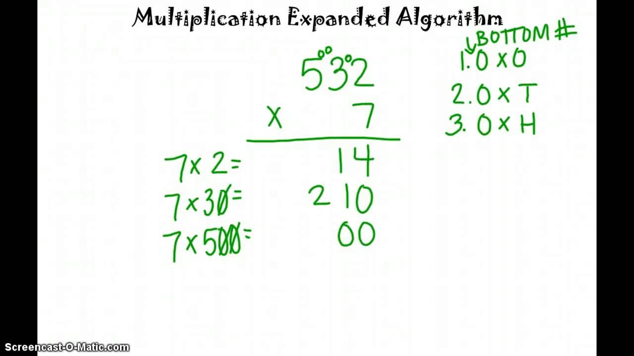 Expanded Algorithm Multiplication Worksheets multiplication – Expanded Algorithm Multiplication Worksheets