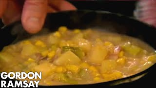 Smoky Bacon Sweetcorn & Potato Soup Paired With Cheese Biscuits | Gordon Ramsay