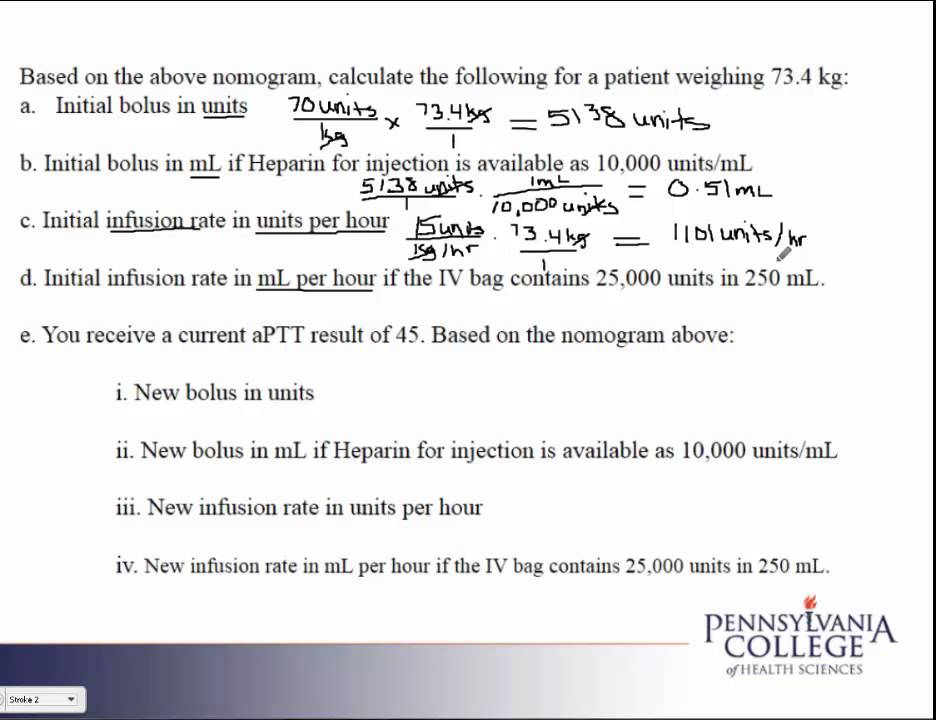 Calculating heparin bolus dosage and iv rate ppt video online.