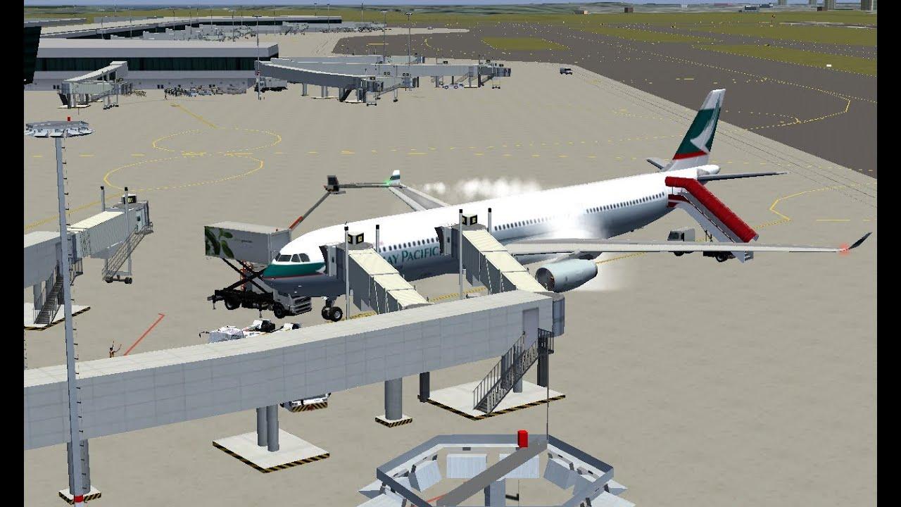 FlightGear 3 0 - Cathay Pacific A330 landing at Singapore Changi Airport