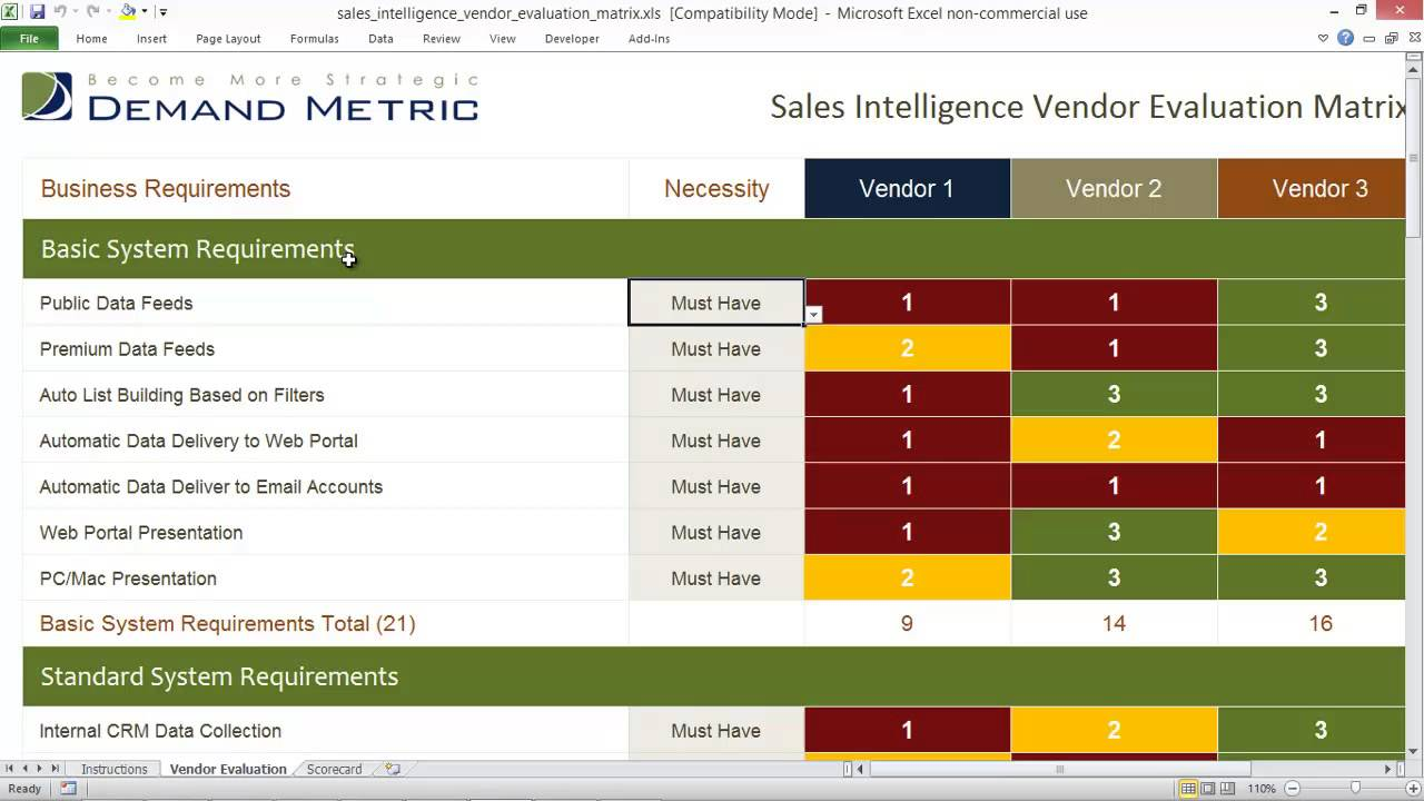 software vendor comparison template - sales intelligence vendor evaluation matrix youtube