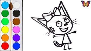 Раскраска для детей КАРАМЕЛЬКА из мультика ТРИ КОТА , Раскраски Малышам.