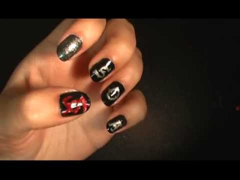 Nail Art - Sons of Anarchy theme. - YouTube