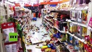 Los terremotos sacuden las tiendas y destrozan las mercancías en Japón