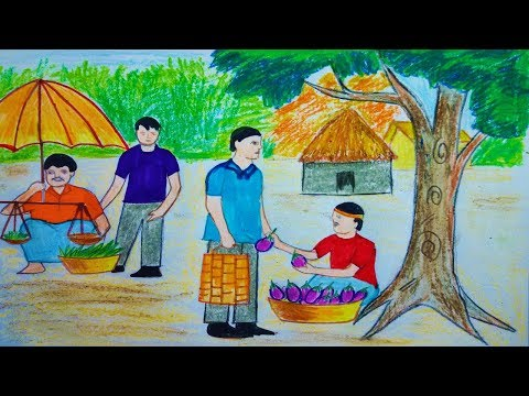 How To Draw Scenery Of Village Market Toma S Drawing Youtube
