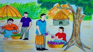 How to Draw  Scenery of Village Market | Toma