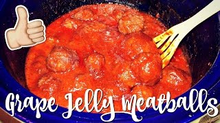 EASY 3 INGREDIENT CROCK POT GRAPE JELLY MEATBALLS
