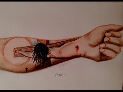 3d Realistic Drawing Jesus Arm Tattoo By Leon Gorvokaj Youtube