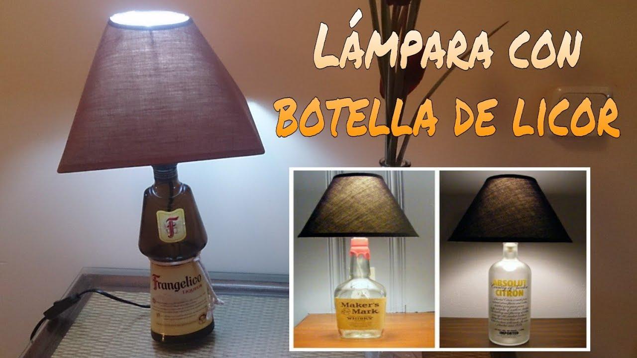 C mo hacer una l mpara con una botella de licor youtube - Como hacer una lampara de pared ...