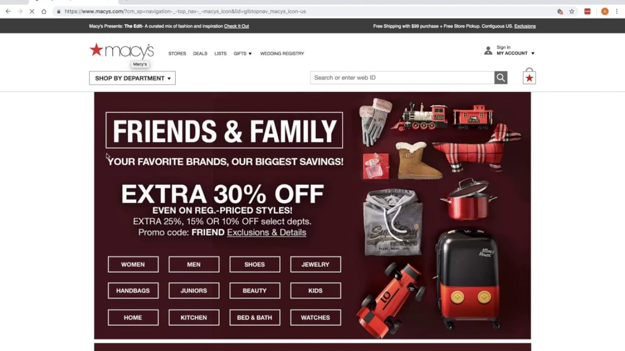 30% off at Macy's Friends and Family!