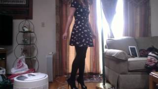 Outfit of the day: H&M Bird printed spring dress, black tights, steve madden heels
