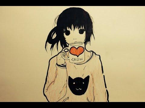 Dibujo Tumblr Sencillo Chica Anime Kawaii Dibujo Facil Anime