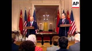 President George H.W. Bush and Soviet Union leader Mikhail Gorbachev sign treaty for first-ever cuts