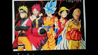 Drawing Naruto, Natsu, Goku, Luffy & Saitama [Anime] HD(five great anime hero´s in ONE big drawing! Who is your hero ? Subscribe ▻▻▻ https://www.YouTube.com/TolgArt Like ▻▻▻ https://www., 2015-12-12T16:43:31.000Z)
