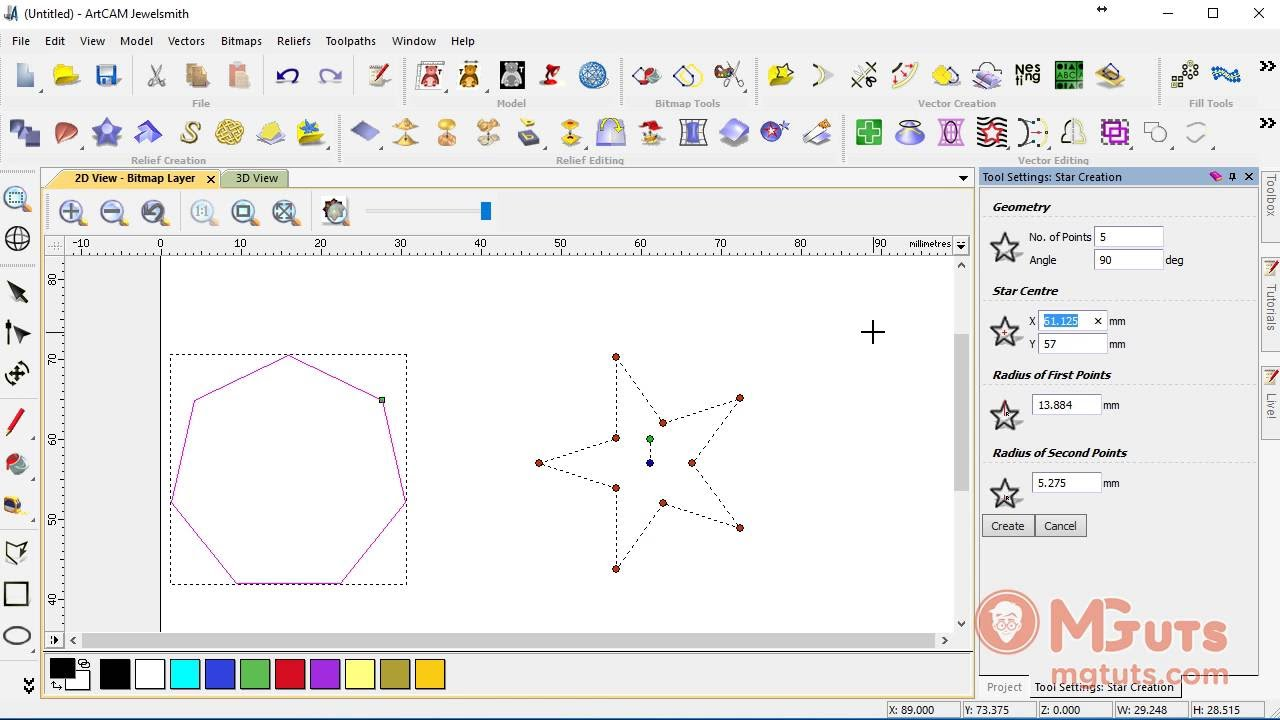 Drawing Star and Polygon in Artcam - Free video tutorials for new beginners