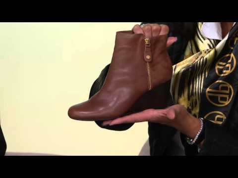 55813c39704 Isaac Mizrahi Live! Leather   Suede Wedge Ankle Boots on QVC - YouTube