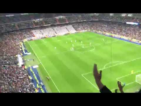 Tottenham fans celebrate their goal against Real Madrid at the Bernabeu