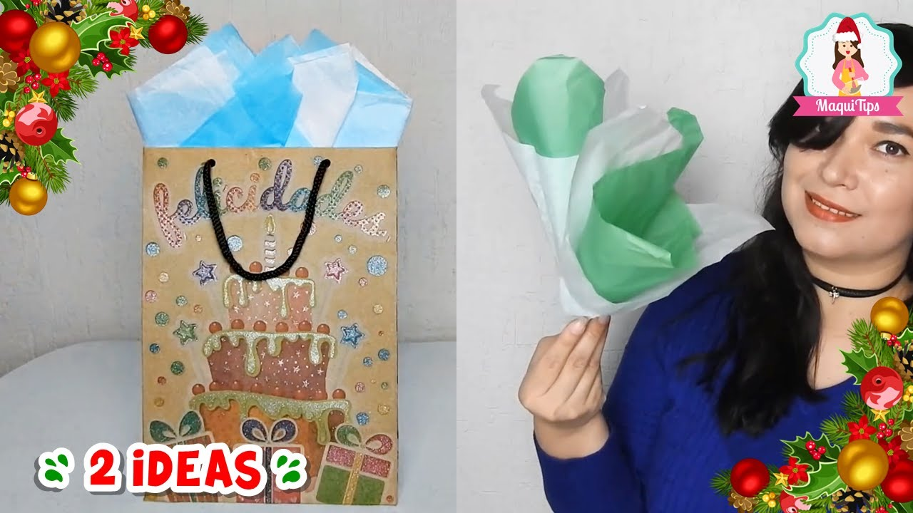 2 Ideas De Cómo Doblar Papel China Para Bolsa De Regalo Como Poner Papel Seda En Bolsa De Regalo Youtube