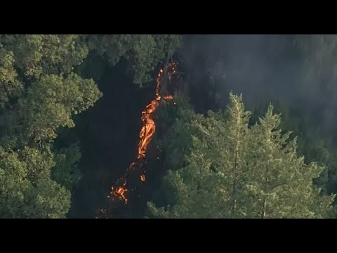 WOODSIDE WILDFIRE: Raw helicopter video of lightning ignited wildfire burning in Woodside