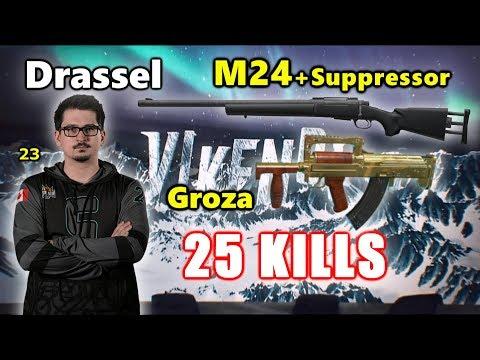 Ghost Drassel & Shrimzy - 25 KILLS - M24-Suppressor + Groza - DUO vs SQUADS - PUBG