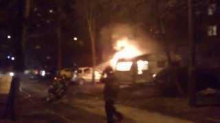 Pożar przyczepy kempingowej przy ulicy Ogrody w Bydgoszczy - Akcja gaśnicza
