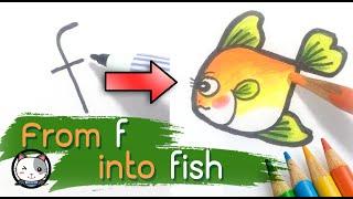 Zeichnen Sie ein Fisch -, Ein-Z Turn Brief in Karikatur (Zeichnung, Bild) Lernen, zeichnen, Buchstabe f in Fisch
