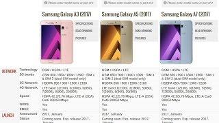 Samsung Galaxy A3 2017, A5 2017 e A7 2017 - Especificações