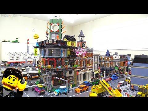 LEGO Ninjago City set & Modular Buildings together in a city!