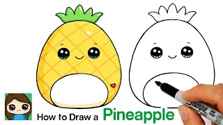 How to Draw a Pineapple Squishmallow  Summer Art Series #12