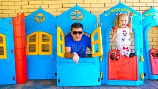 Nastya and papa pretend play with playhouse House tour Video for kids